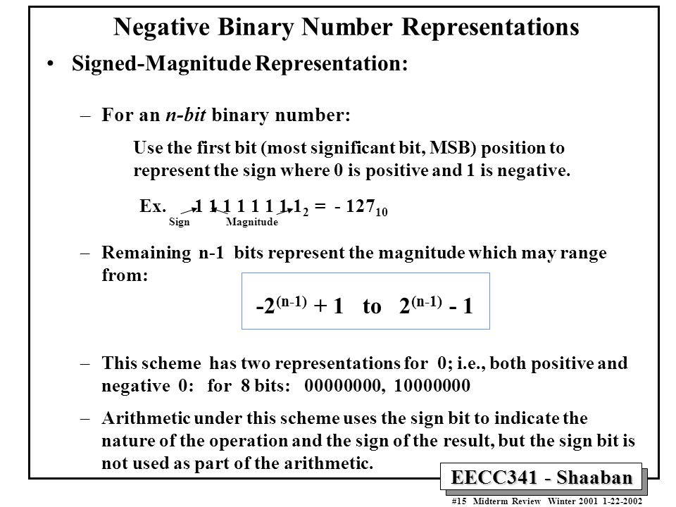 how to find binary representation of a negative number