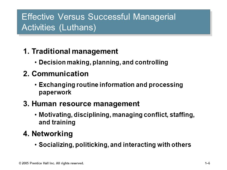 effective versus successful managerial activities 管理的本源_销售/营销_经管营销_专业资料。管理的本源 目录 functions of management 管理的职能 管理的角色 managerial roles effective versus suc.