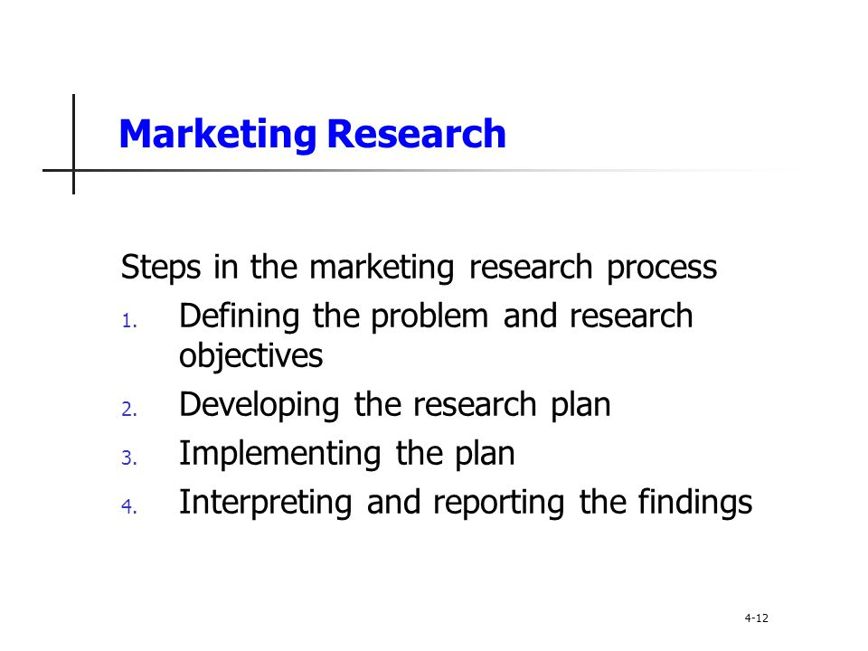 Marketing Research Steps in the marketing research process