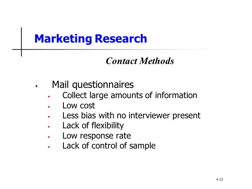 Marketing Research Contact Methods Mail questionnaires