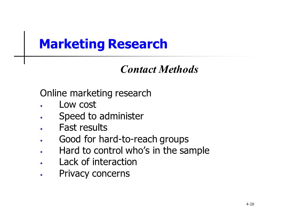 Marketing Research Contact Methods Online marketing research Low cost