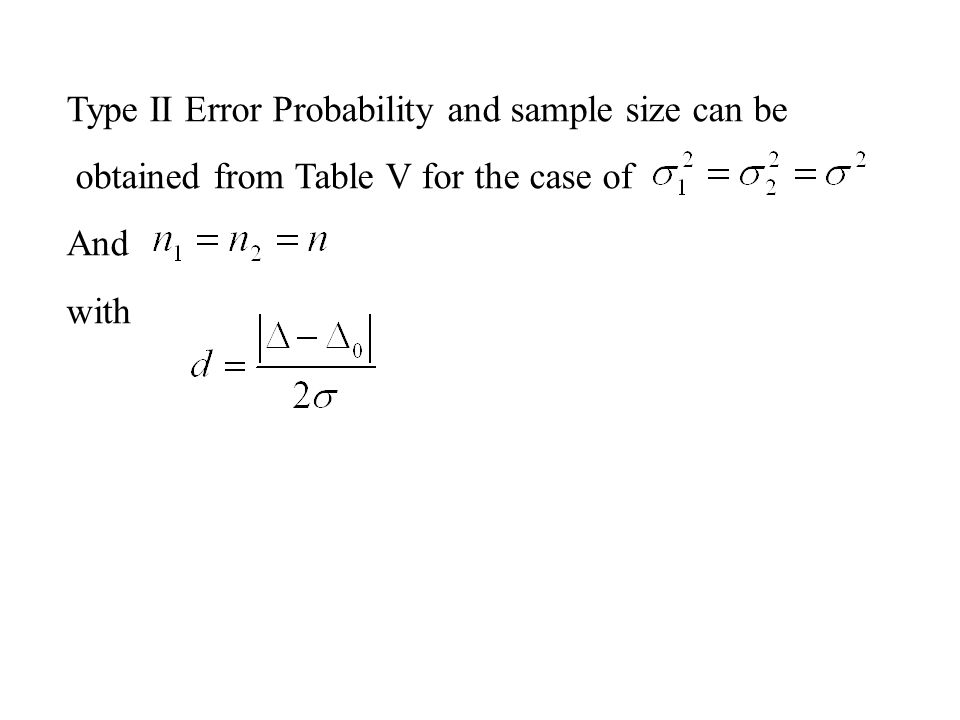 Type II Error Probability and sample size can be