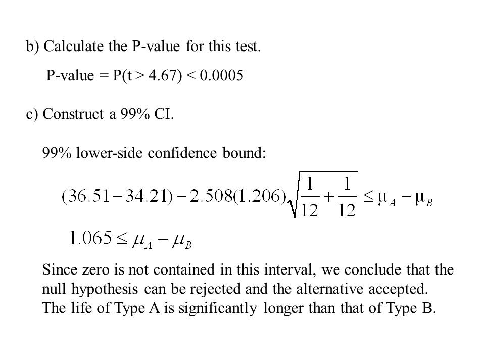 b) Calculate the P-value for this test.
