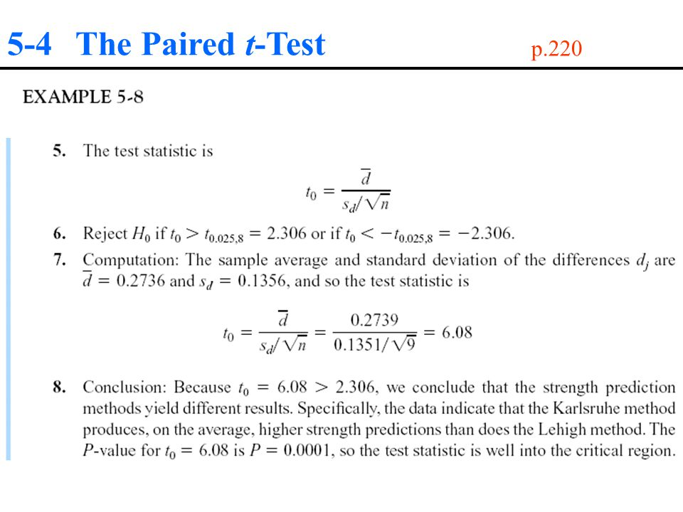 5-4 The Paired t-Test p.220