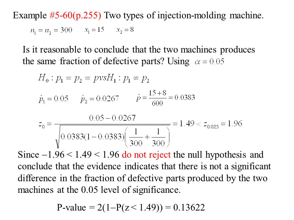 Example #5-60(p.255) Two types of injection-molding machine.