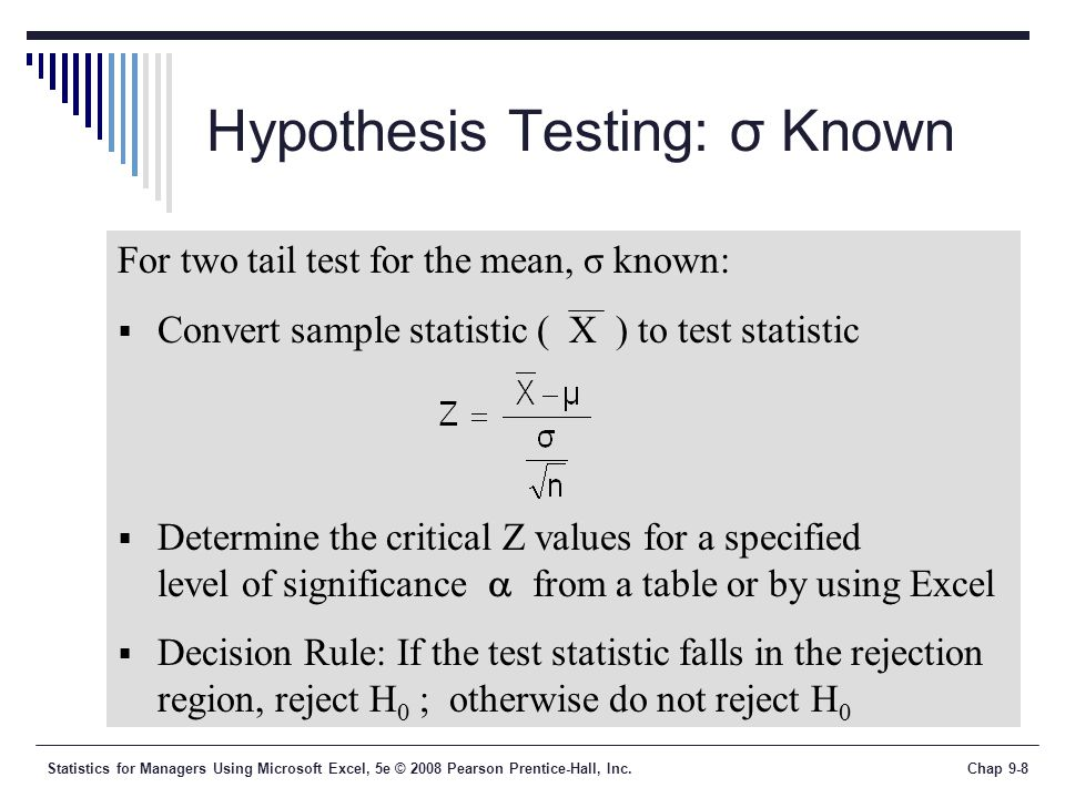 Hypothesis Testing: σ Known