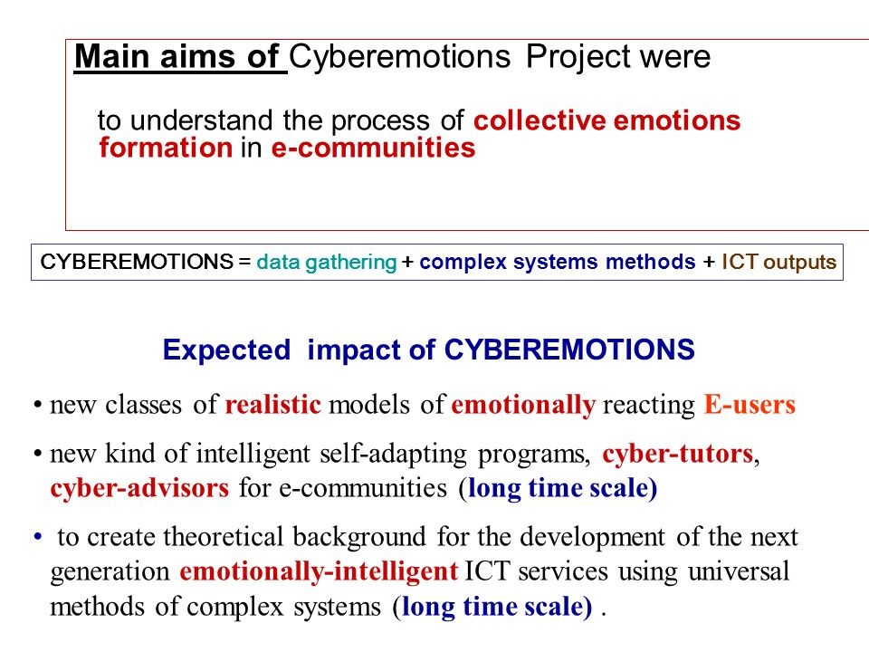 Expected impact of CYBEREMOTIONS