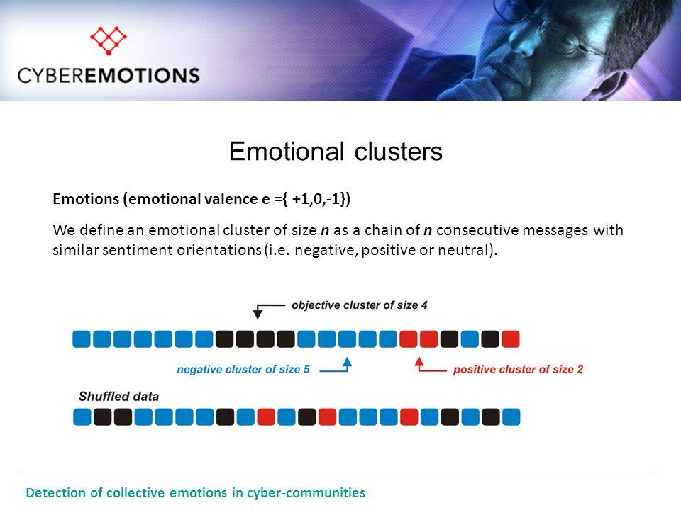 Emotional clusters Emotions (emotional valence e ={ +1,0,-1})