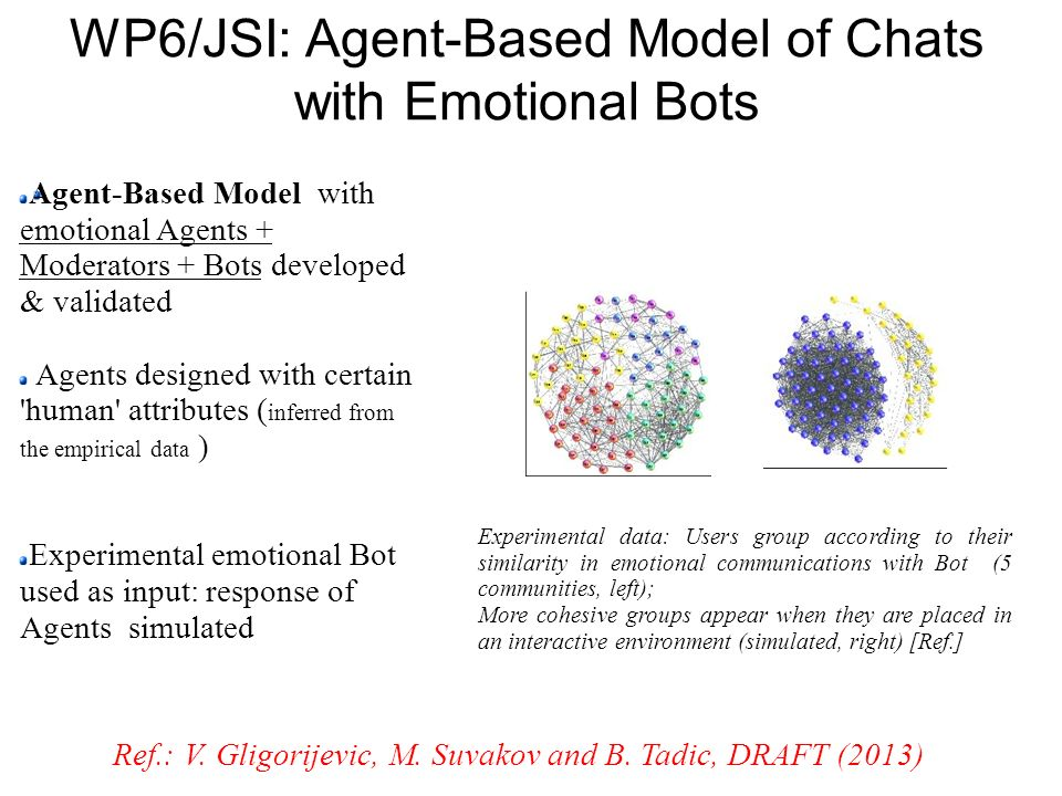 WP6/JSI: Agent-Based Model of Chats with Emotional Bots
