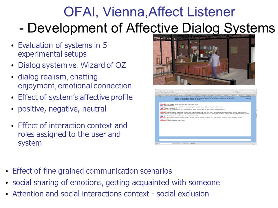 OFAI, Vienna,Affect Listener - Development of Affective Dialog Systems