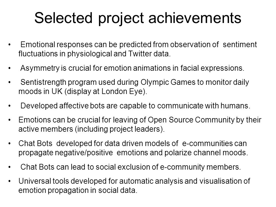 Selected project achievements