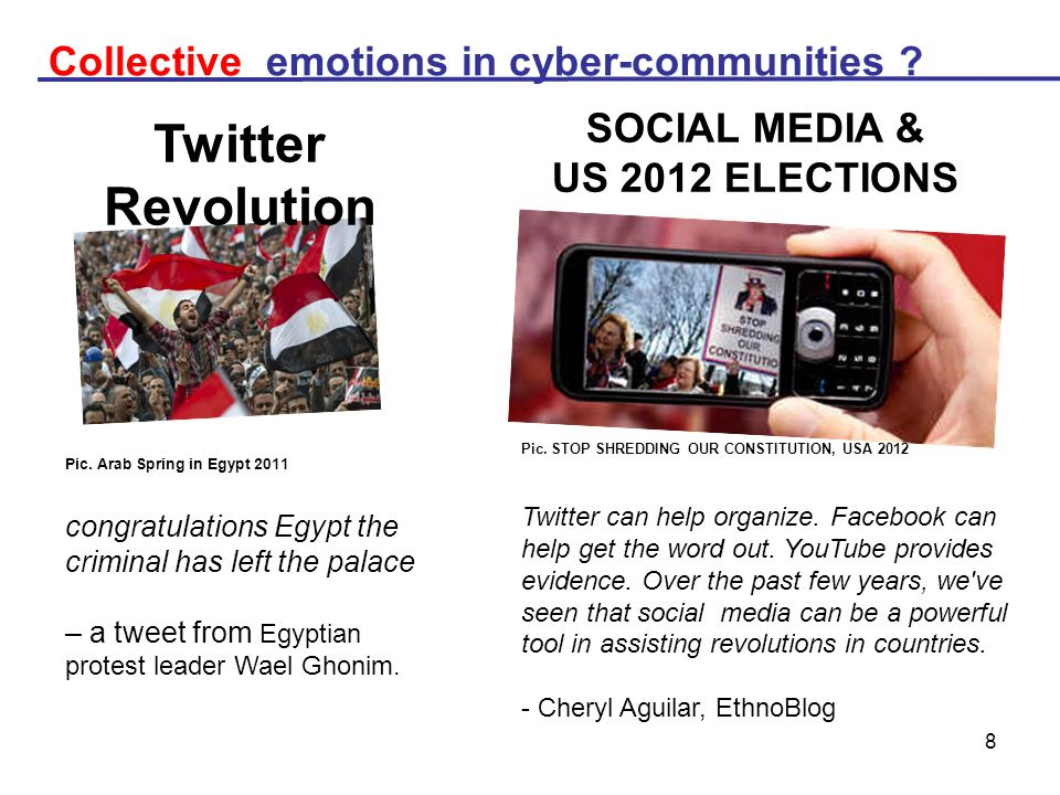 Twitter Revolution Collective emotions in cyber-communities