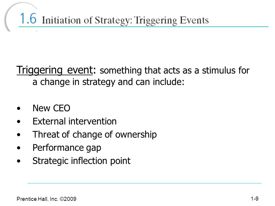 Triggering event: something that acts as a stimulus for a change in strategy and can include: