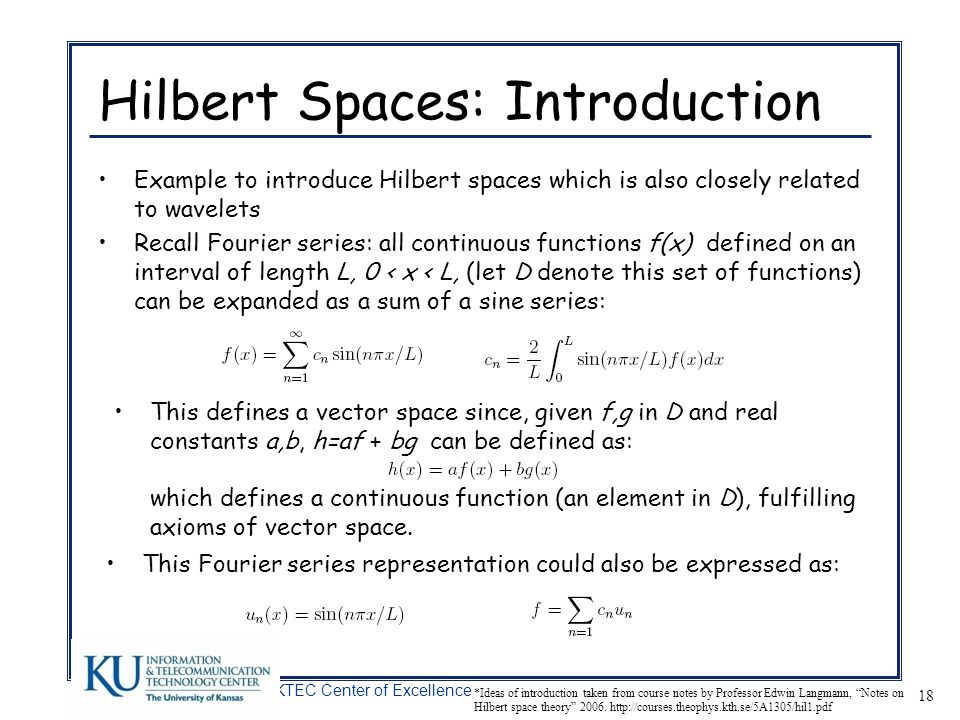 Hilbert Spaces: Introduction