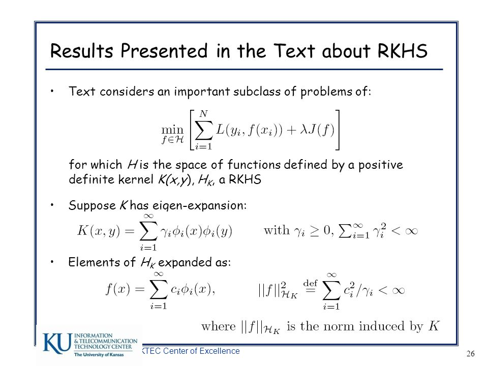 Results Presented in the Text about RKHS
