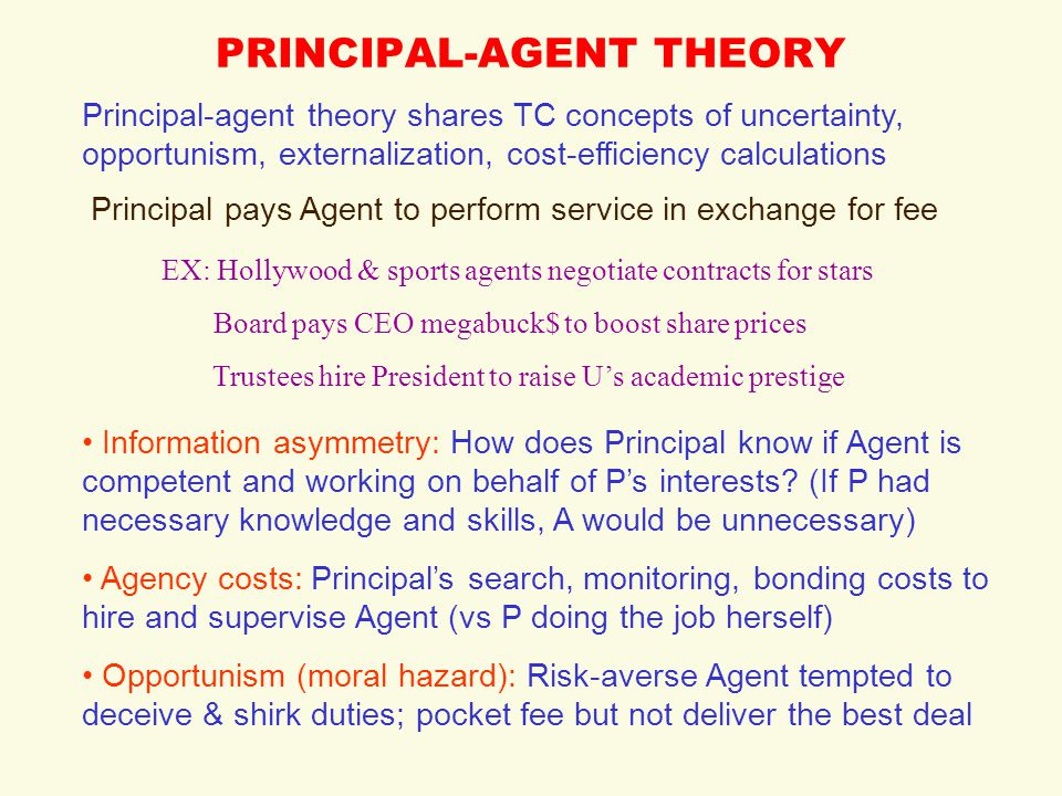 principal agent theory Managerial theories and the principal agent problem the conflict between managers' and shareholders' objectives - bsc (honours) economics thabani nyoni - essay - business economics - business management, corporate governance - publish your bachelor's or master's thesis, dissertation, term.