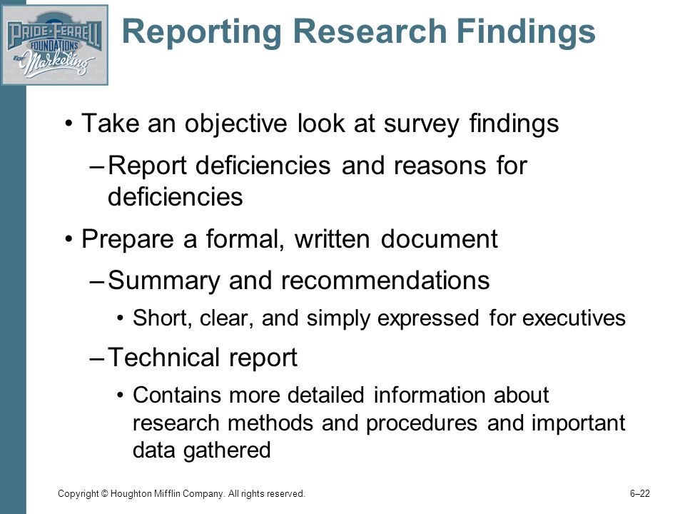 reporting the findings from research The purpose of the discussion is to interpret and describe the significance of your findings in light of what was already known about the research problem being investigated, and to explain any new understanding or insights about the problem after you've taken the findings into consideration.