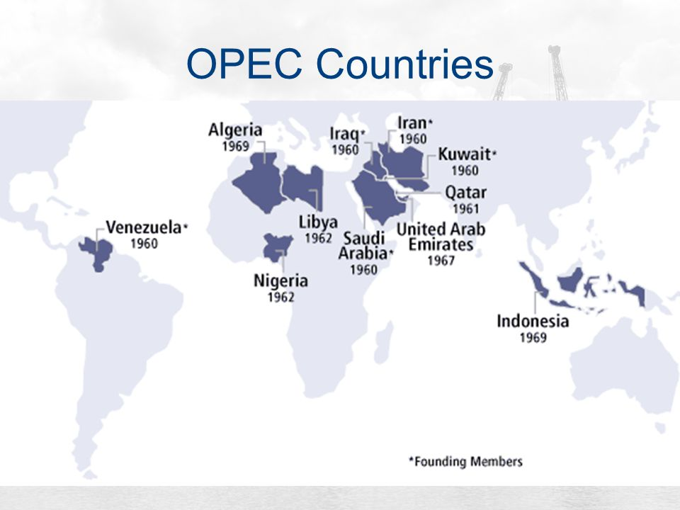 a history of the organization of petroleum exporting countries Opec, the organization of the petroleum exporting countries, id an international organization uniting most of the world's petroleum exporting countries.