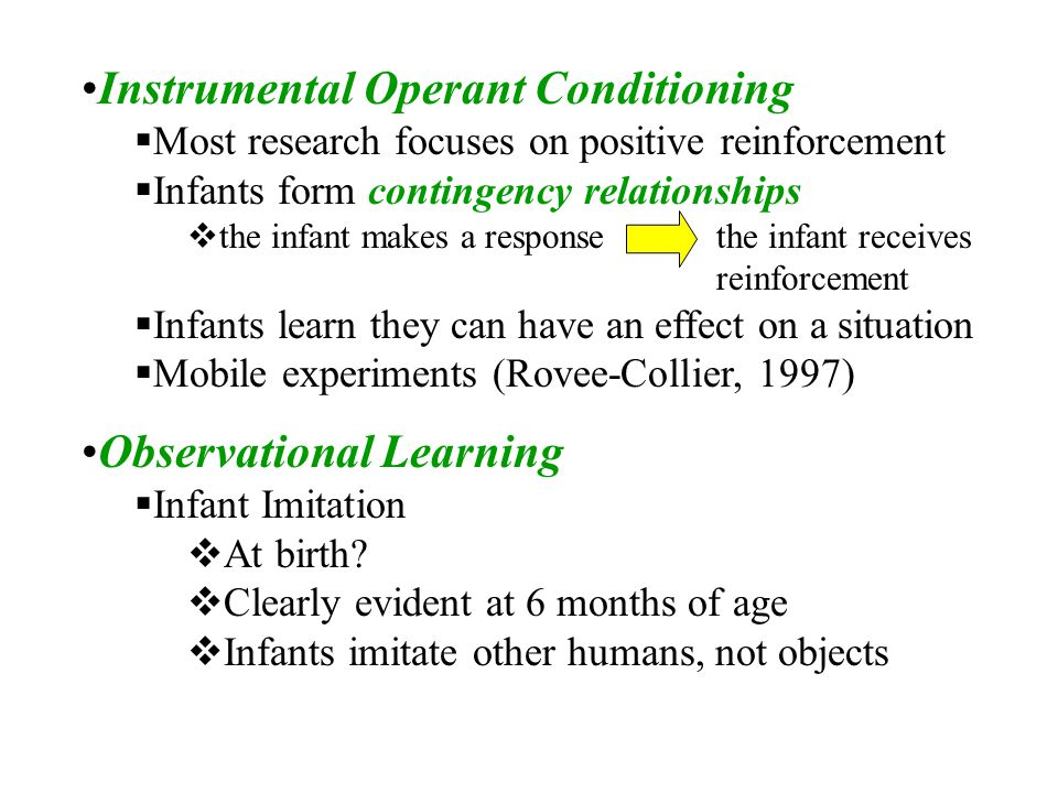 imitation operant conditioning 23 operant conditioning according to behaviourism, all behaviour is learned and maintained by its consequences b f skinner (1905–1990) devised apparatus and methods for studying these effects figure 3 shows a 'skinner box' designed for use with a rat the early behaviourists often examined animal learning and.