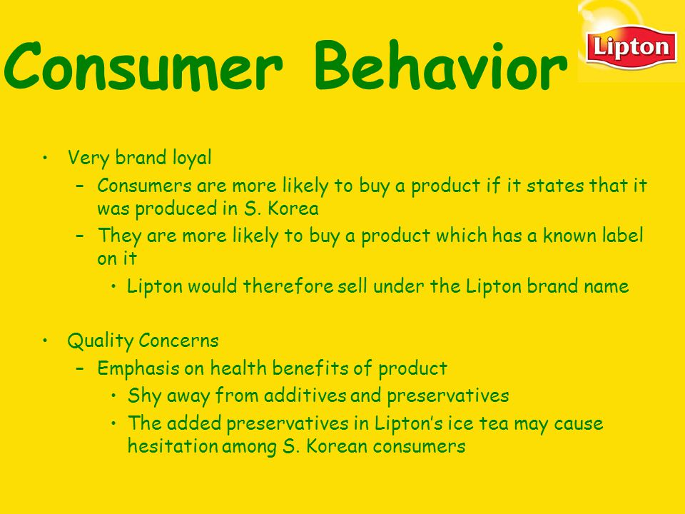 Projects on consumer behavior towards tea