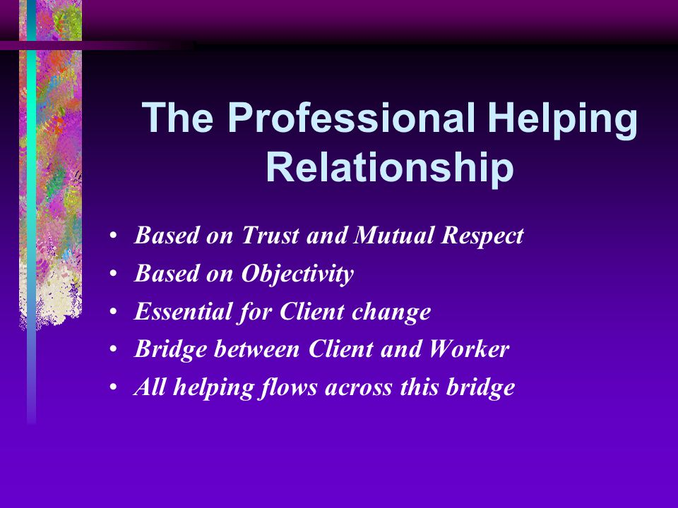the theory of helping the relationship between the helper and the client Chapter 4: overview of the exploration stage multiple-choice questions 401 key component(s) of the exploration stage is (are): a the development of a relationship between the client and the helper.