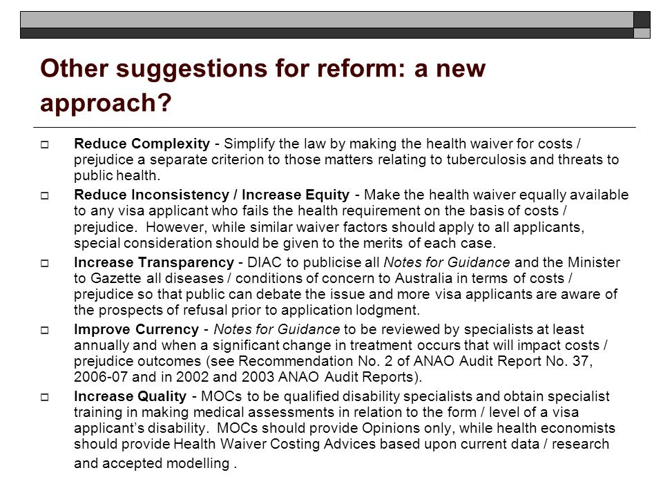 Other suggestions for reform: a new approach