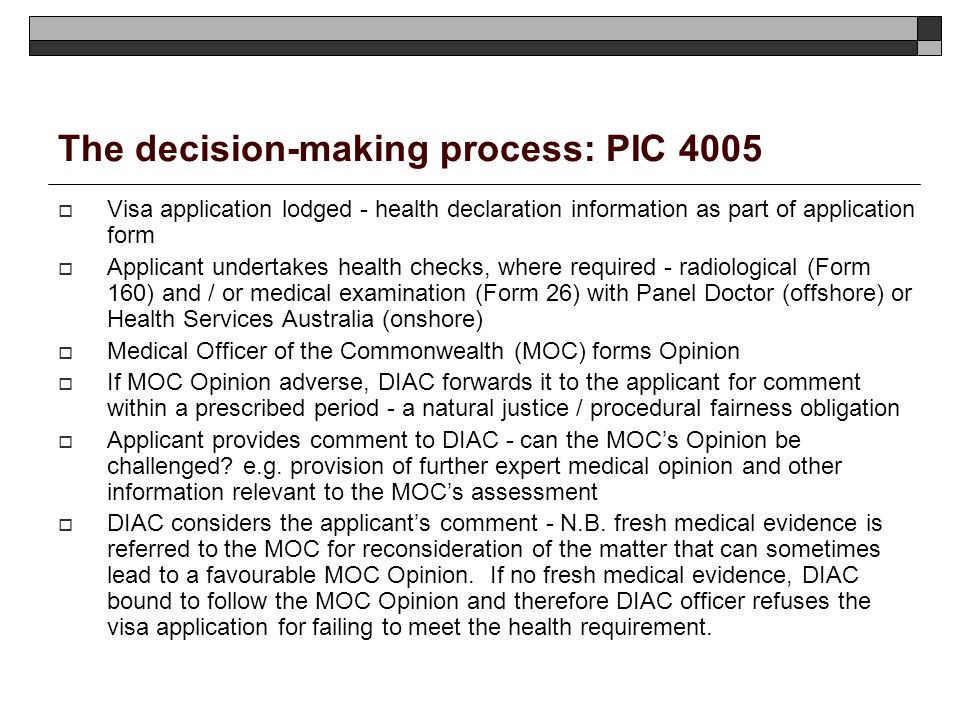 The decision-making process: PIC 4005