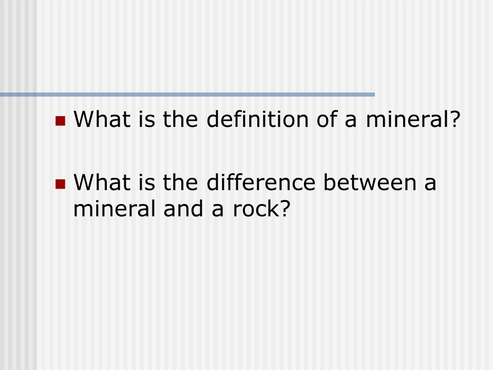 What is the definition of a mineral