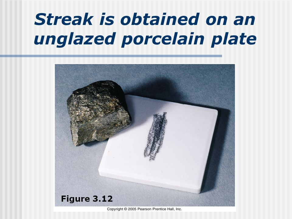 Streak is obtained on an unglazed porcelain plate