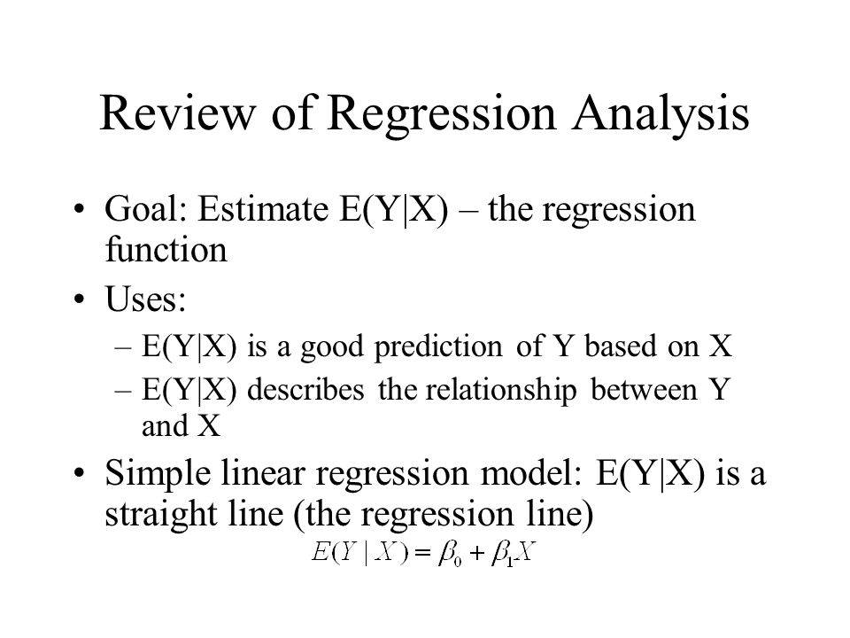 Review of Regression Analysis