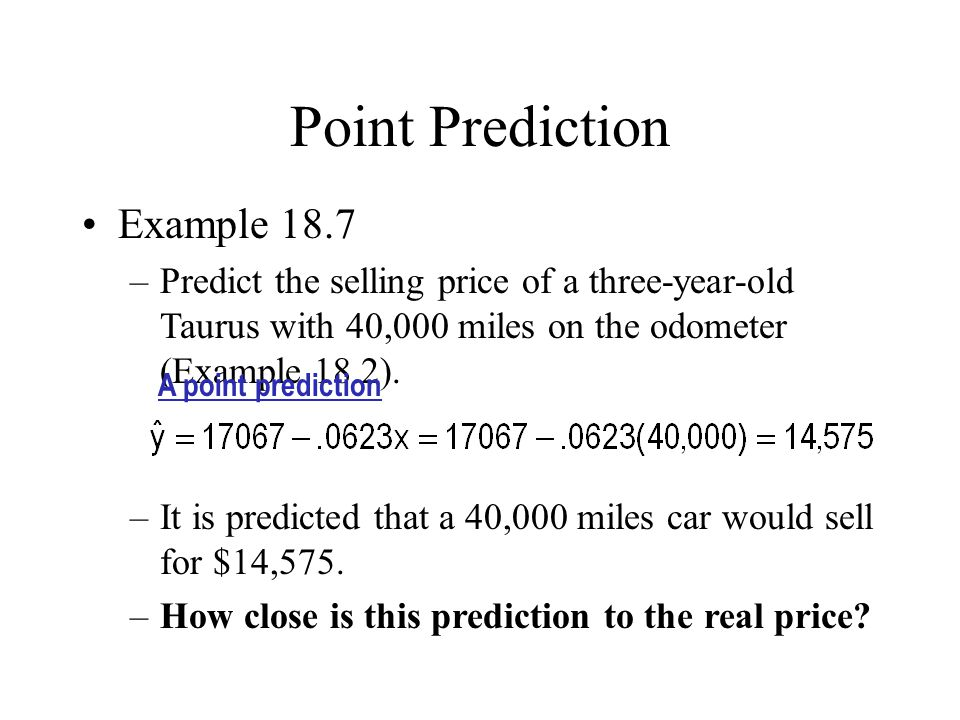 Point Prediction Example 18.7
