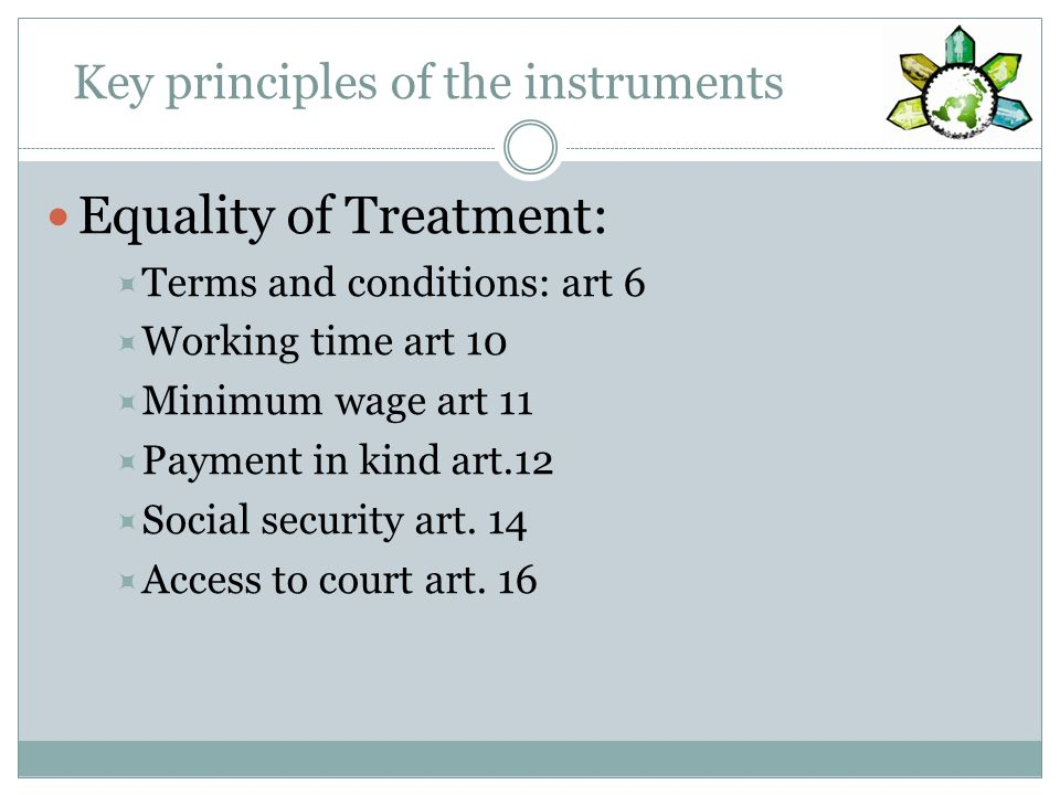 Key principles of the instruments