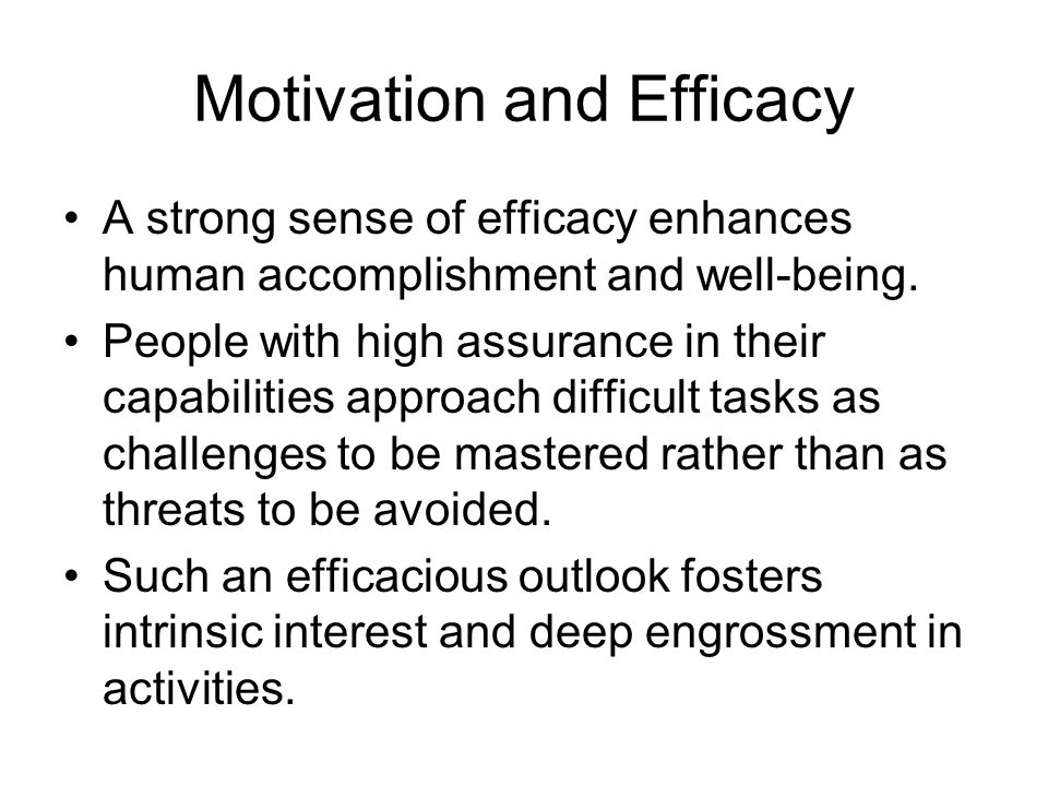 Motivation and Efficacy