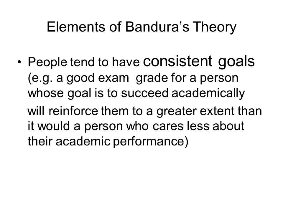 Elements of Bandura's Theory