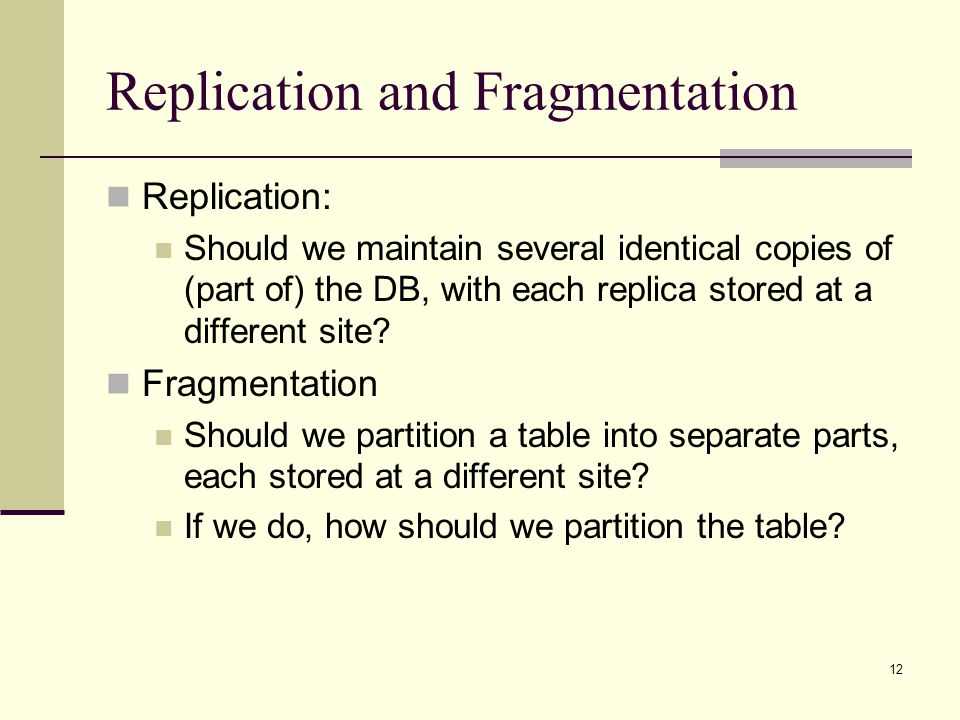 Replication and Fragmentation