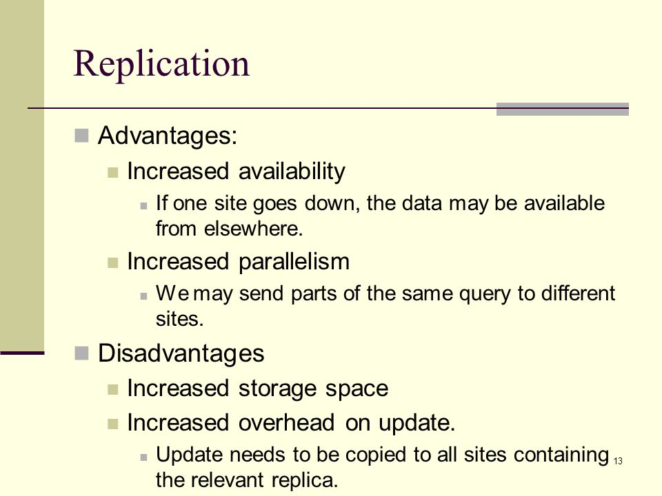 Replication Advantages: Disadvantages Increased availability