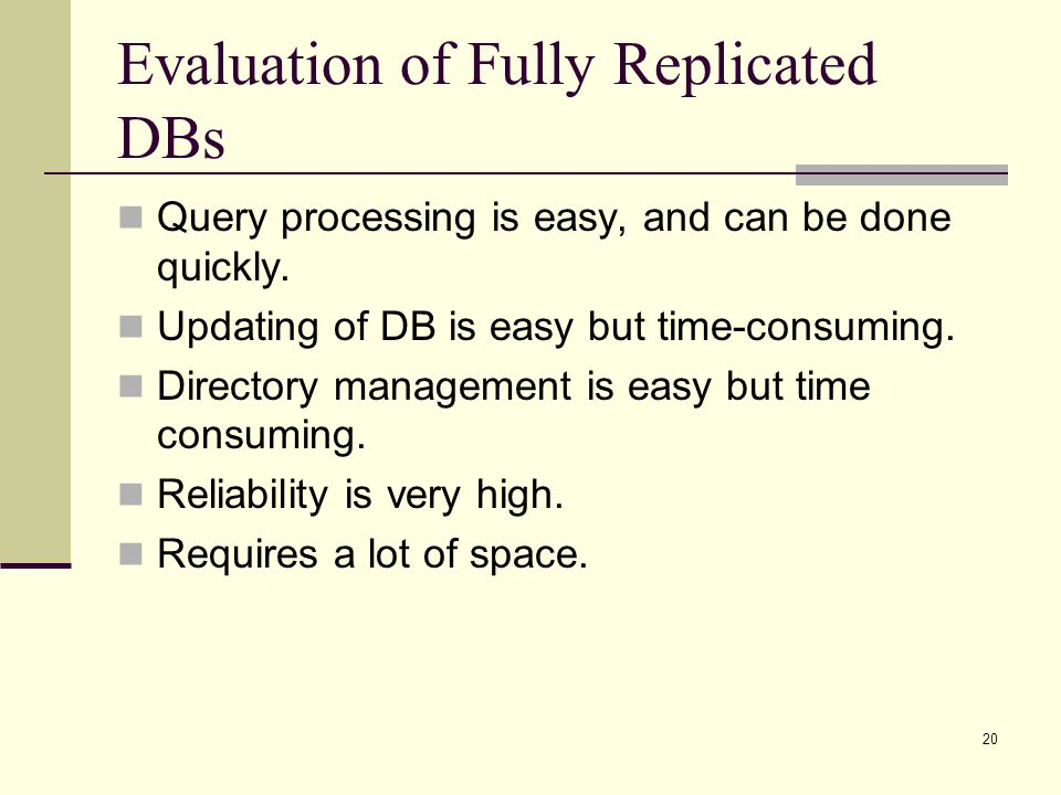 Evaluation of Fully Replicated DBs