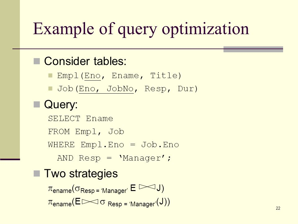 Example of query optimization