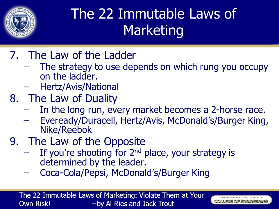 22 immutable laws of marketing Buy the 22 immutable laws of marketing main by al ries, jack trout (isbn: 9781861976109) from amazon's book store everyday low prices and free delivery on eligible orders.