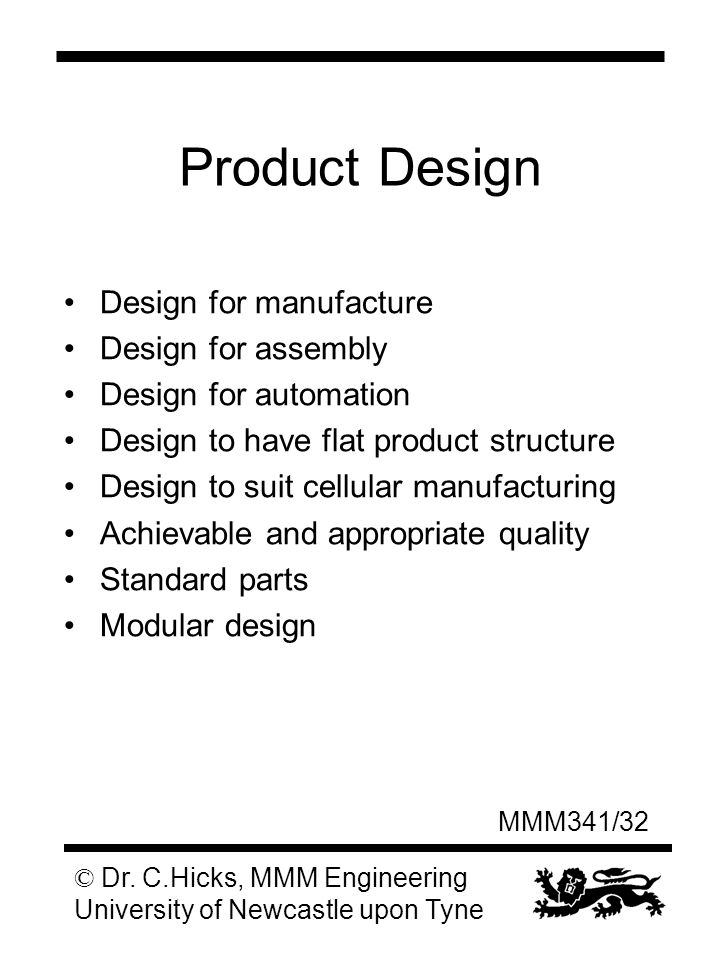 Manufacturing systems iii ppt download for Product design manufacturing