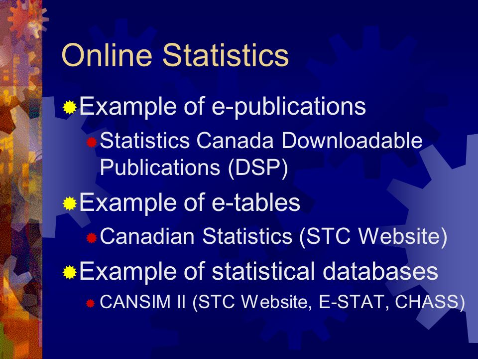 Online Statistics Example of e-publications Example of e-tables