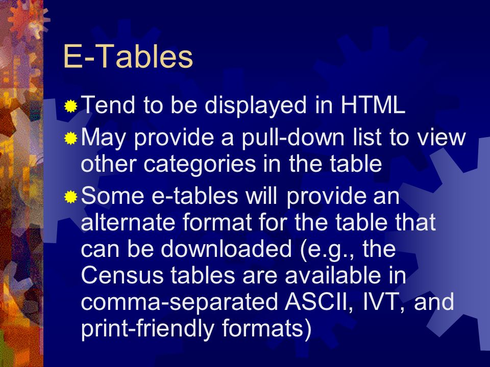 E-Tables Tend to be displayed in HTML