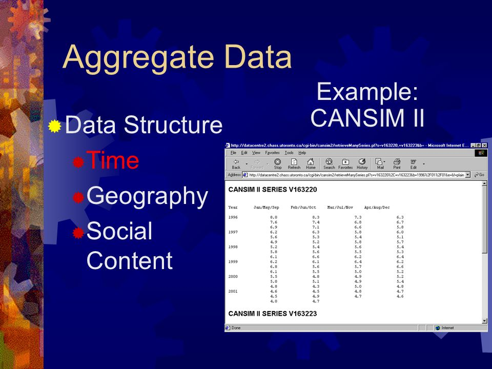 Aggregate Data Example: CANSIM II Data Structure Time Geography