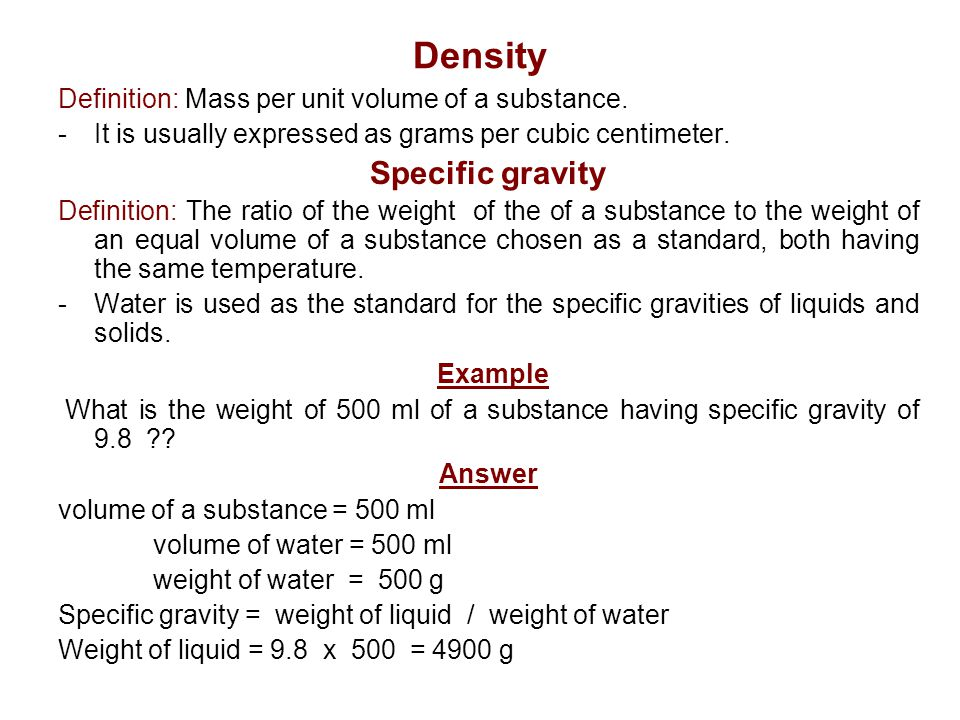 specific gravity and mass relationship