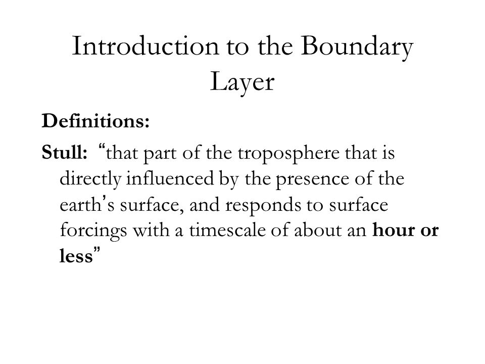 Introduction to the Boundary Layer