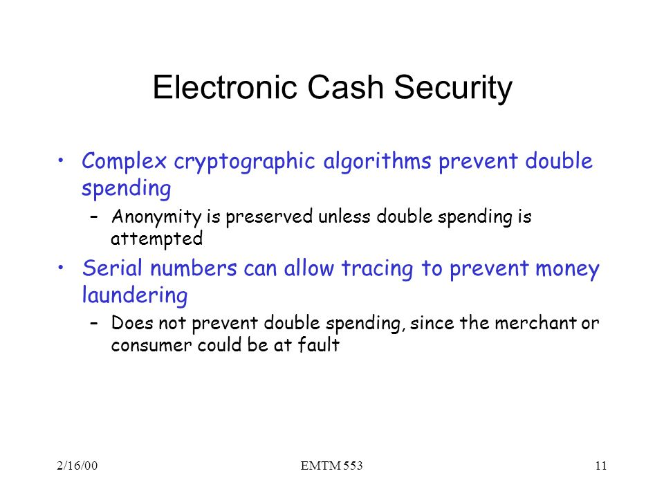Electronic Cash Security