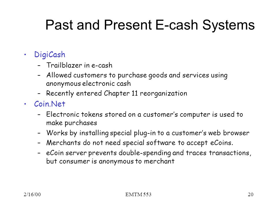 Past and Present E-cash Systems