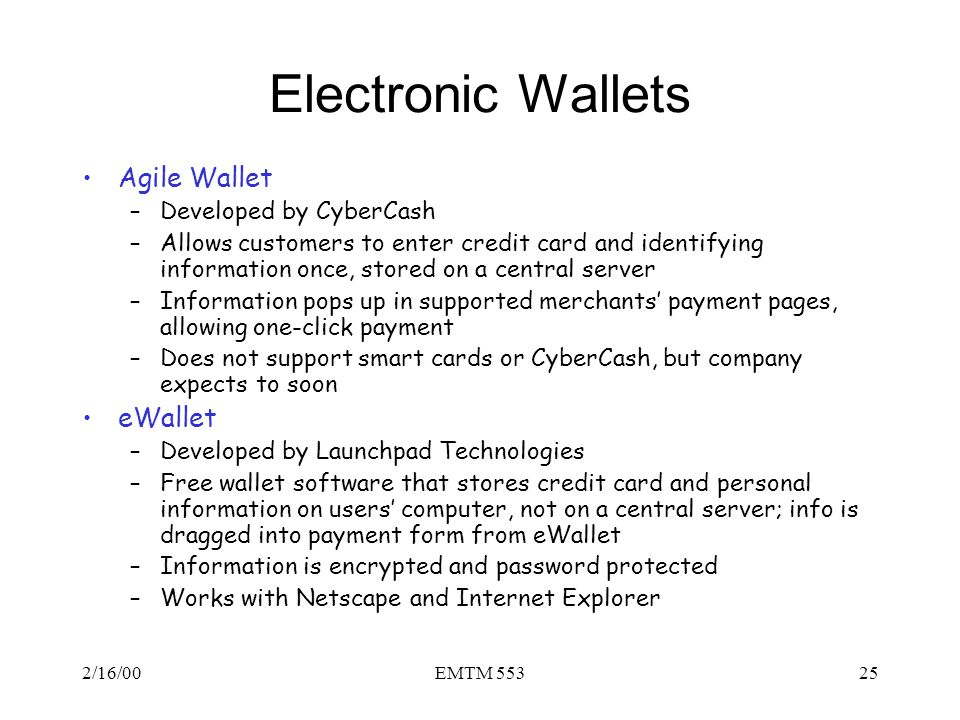Electronic Wallets Agile Wallet eWallet Developed by CyberCash