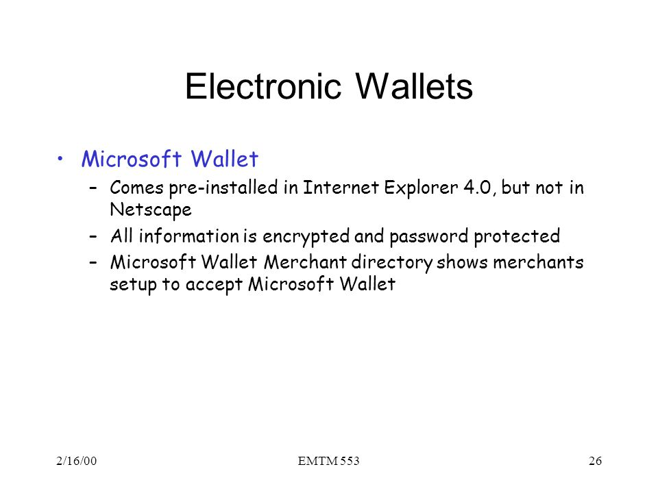 Electronic Wallets Microsoft Wallet
