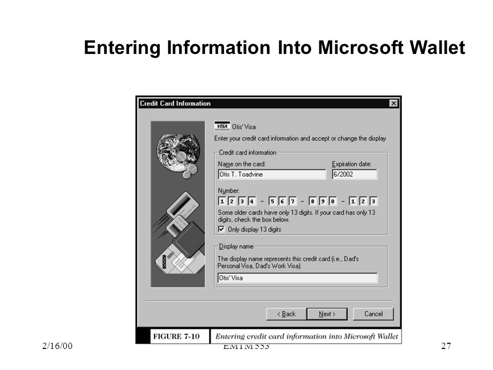Entering Information Into Microsoft Wallet